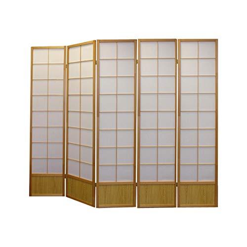 Paravents by Cilios Paravent Hoshi Style 5 XL Nature - blickdichte Stellwand mit Shoji Art bespannt, Sondergröße 190 cm hoch