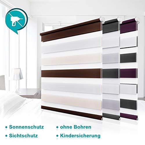 Homland Doppelrollo Klemmfix Duo Rollo ohne Bohren Easyfix Seitenzugrollo Weiß-Beige-Braun 65x150cm Lichtdurchlässig und Verdunkelung Wand- und Deckenmontage für Fenster und Türen