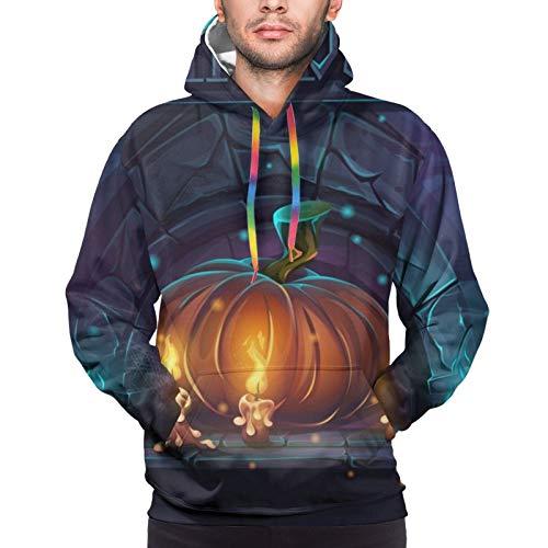 Halloween - Pumpkin And Candles Mens Hoodies Casual Hooded Sweatshirt Long Sleeve Pullover Black