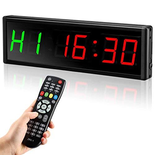 GANE Sport Gym Temporizador Reloj 2.3 Pulgadas Programable 6 dígitos LED Intervalo Temporizador Cuenta atrás/Arriba Reloj Cronómetro con Control Remoto para Gimnasio de Entrenamiento en casa