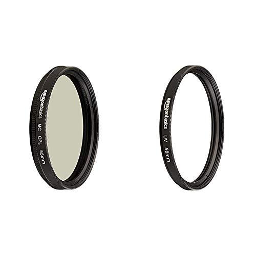 Amazon Basics Circular Polarizer Camera Lens Filter - 55 mm & UV Protection Camera Lens Filter - 58mm