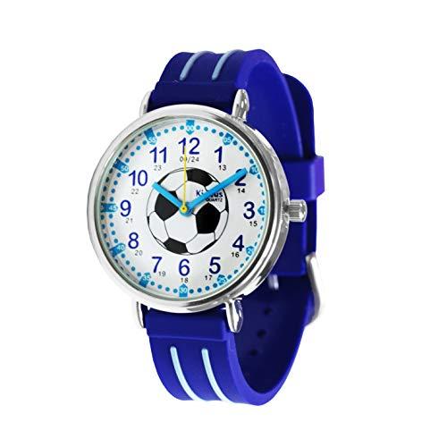 KIDDUS Reloj Educativo para niño, Chica, Chico. De Pulsera, analógico. Time Teacher fácil de Leer para Aprender la Hora. Ejercicios incluídos. Mecanismo de Cuarzo japonés (Fútbol)