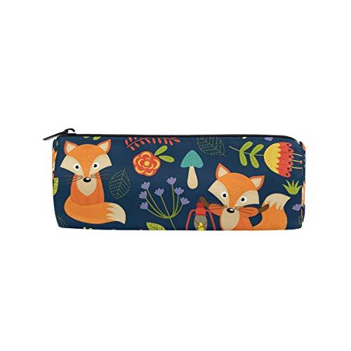 JOKERR Pencil Case Animal Fox Flower Pattern Pencil Bag Pen Zipper Bag Pouch Organizer Makeup Brush Bag for Girls Kids School Student Stationery Office Supplies