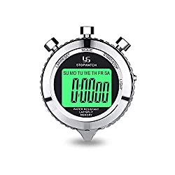 Rolilink Digital Stopwatch Timer Metal Stop Watch with Backlight, 2 Lap Stopwatch Timer for Sports Competition