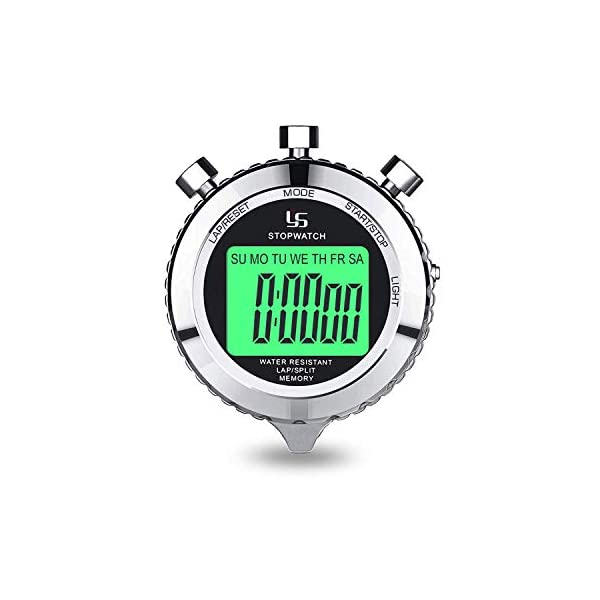 Digital Stopwatch Timer Metal Stop Watch with Backlight , 2 Lap Stopwatch Timer for...