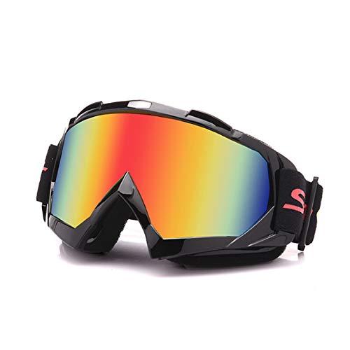 Galatée Moto Motocicletta/ATV/Cross/Sci da Corsa Equitazione Ciclismo Occhiali Esterno Sciare Vento-Prova Anti-Nebbia Anti-UV (Montatura nera - Lente colore)
