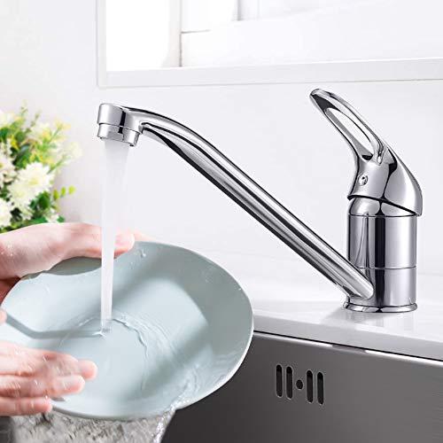 Dmore - Grifo monomando para cocina, giratorio 360°, acero inoxidable, para cocina o baño, adecuado para agua fría y caliente, cromado