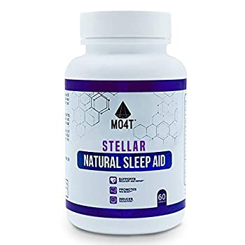 MO4T Stellar| Sleep Aid | Natural Non-Habit Forming |60 Capsules | Herbal  Valerian Root Chamomile Passion Flower | Melatonin 5 HTP GABA and L-theanine | Magnesium Citrate