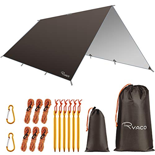 Ryaco Camping Zeltplane, 3m x 3m 3m x 4mTarp für Hängematte, wasserdicht Leicht Kompakt Zeltunterlage Picknickdecke Hammock für Camping Outdoor Plane für Ourdoor Camping MEHRWEG (3m x 4m, Kaffee)