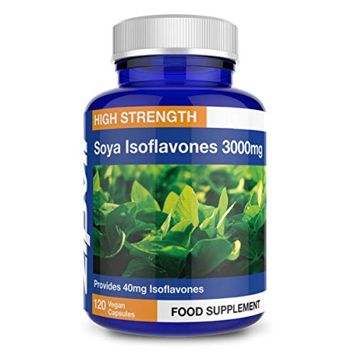 SOYA Isoflavones 3000mg, 6000mg Daily Dose. 120 Vegan Capsules, 2 Months Supply
