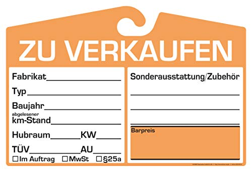 25x KFZ-Verkaufsschild zur Befestigung am Innenspiegel (orange, analoge Anzeige)