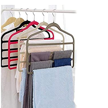 Magic Multi Layer Pants Drying Flocking Hanger Trousers Holder No Slip Closet Hangers Space Saver Clothes Scarf Storage Hanging Rack, 4 Pcs (Black)