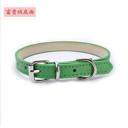 Ocamo hondenhalsband, Dog Collar - Zachte halsband met hondenhalsband voor kleine kattenpuppy's, XXXS 25*1.0CM, Rich plush broek: groen