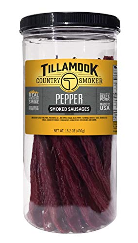 Tillamook Country Smoker Real Hardwood Smoked Pepper Sticks Resealable Tall Jar, 15.2 Ounce