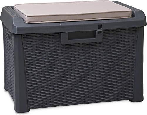 Coffre de Jardin en Plastique avec Espace de Rangement de 125 l et Coussin de siège 73 x 50,5 x 49,5 cm