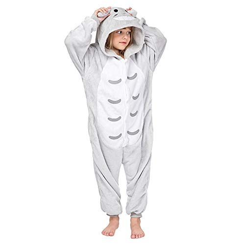 WEIR Pijama de Franela para niños Sudadera con Capucha de Animal de una Pieza de Felpa Conjunto de Ropa de Dormir de Manga Larga para niños,Totoro-100