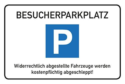 Schild Besucher-Parkplatz | Querformat 45 x 30 cm | Direktdruck auf 4 mm starker Alu Dibond Verbundplatte | mit Bohrschalbone