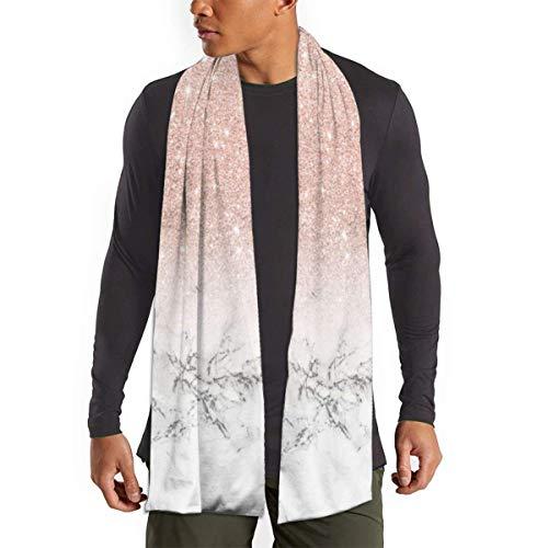 Schal für Damen und Herren, modern, Roségold, Rosa, Glitzer, Weiß, Marmor, leicht, Unisex