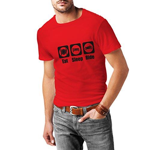Camisetas Hombre Eat - Sleep - Ride, Regalo para Motociclistas Ropa de Moto (Medium Rojo Negro)