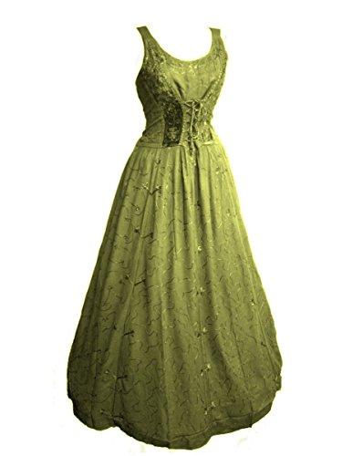 Dark Dreams Gothic Mittelalter LARP Kleid Samt Bestickt mit Schnürung Talisha 36 38 40 42, Größe:L/XL, Farbe:antikgrün
