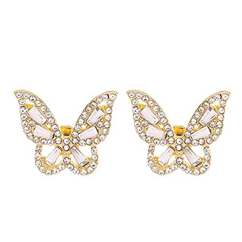 Joyería y accesorios Joyería de moda elegante Pendientes de tuerca de lujo para las mujeres Pendientes de mariposa Pendientes de circón (oro)