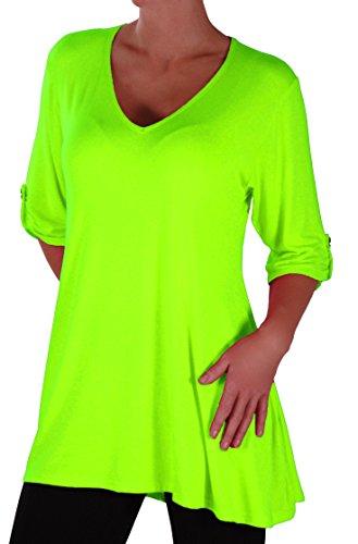 EyeCatch Plus - Shellie Damen V-Ausschnitt Tunika Übergröße Frauen Ausgestelltes Langes Top