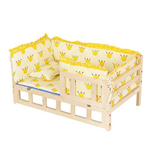 ZXXL Cama de Perro Sofá Cama de Madera para Perros Pequeños Medianos Grandes, Perrera Ortopédica Elevada con Cojín Grueso y Valla, Fácil de Montar (Color : Yellow, Size : S-54×39×39cm)