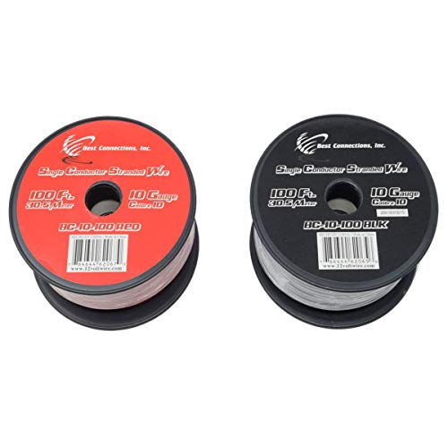Audiopipe 10 Gauge Wire Red & Black Power Ground 100 FT Each Primary Stranded Copper Clad