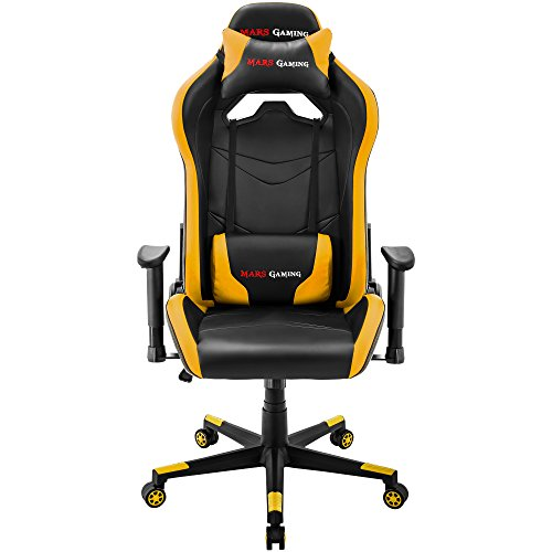 Mars Gaming MGC3 Silla Profesional, Regulable, Cojín Lumbar y Cervical, Amarillo, XXL