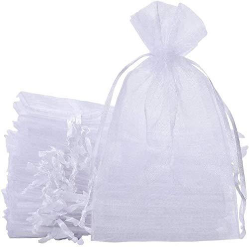 KAHEIGN 50Pcs Organzabeutel Schmuckbeutel Organzasäckchen, 20 x 30cm Organza Hochzeit Säckchen für Schmuck Party Beutel Geschenktüten (weiß)