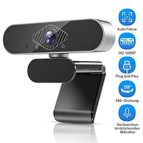 Teaisiy Webcam,Webcam Mit Mikrofon Webcam HD 1080p USB Webcam für Videoanrufe, Studieren, Konferenzen, Aufzeichnen, Spielen mit drehbarem Clip etc,PC/Mac/ChromeOS/Android (Silber schwarz)