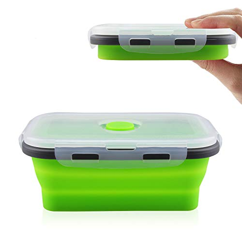 MYKUJA Collapsible Silicone Food Storage Containers Green Silicone Lunch box Containers Dishwasher and Freezer Safe Folding Lunchbox-Small and Large Collapsible Meal Prep Container 800ML Green 1pcs