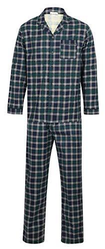Walker Reid Herren Flanell Baumwolle Blau Karo Langarm-Pyjama mit Knopfverschluss und Kragen XX groß