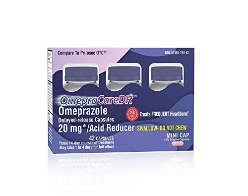OmepraCareDR 42 Count Capsules Omeprazole 20mg Acid Reducer for Heartburn, (14 Capsules/Bottle) One 3-Pack Carton for Three 14-Day Courses, Delayed-Release Mini Capsules