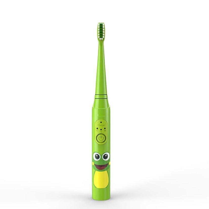 ステーキ扱いやすい大脳子供の電動歯ブラシUSB充電式保護清潔で柔らかい毛の歯ブラシ 完全な口腔ケアのために (色 : 緑, サイズ : Free size)