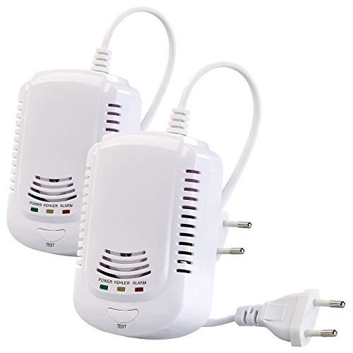VisorTech Gas Detektor: 2er-Set Multi-Gasmelder für haushaltsübliche Gase, mit 3 LEDs, 85 dB (Gas-Messgerät)