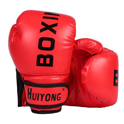 HUINING Guantes de boxeo para niños, guantes de boxeo, guantes de artes marciales mixtas, guantes de entrenamiento de dajn, 4 onzas, para edades de 3 a 12 años (rojo de boxeo)
