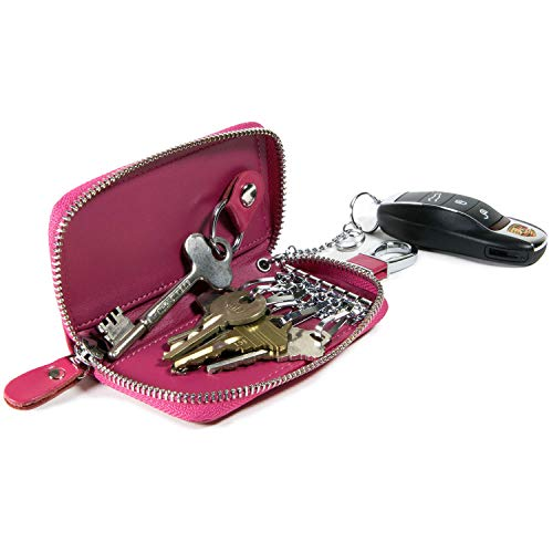 Car Home Key Organizer Pouch, CoreLife Zippered Multi Key Holder Vegan Leather Wallet Case Key Chain for Women - Hot Pink