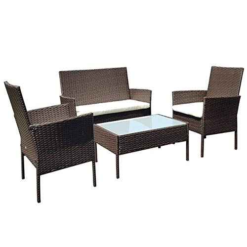 BORNMIO Patio Furniture Set 4 Pieces Outdoor Rattan Chair Wicker Sofa Garden Conversation Bistro Sets for Yard,Pool or Backyard table top-milk silk tempered glass KD