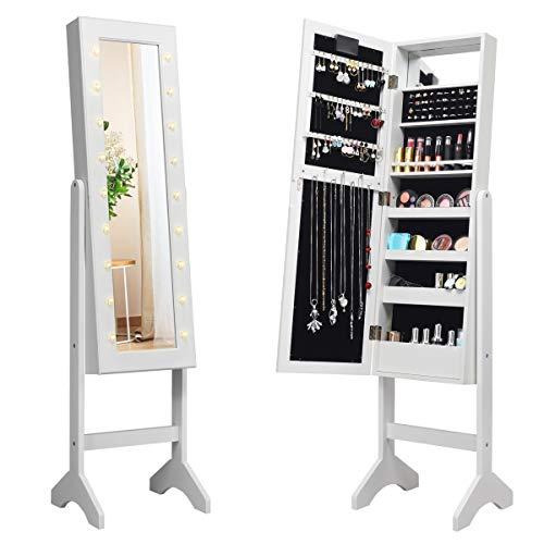 COSTWAY 18 LED-Schmuckschrank neigungsverstellbar, Schmuckregal mit Ganzkörperspiegel und kleinem Schminkspiegel, Schmuck Spiegelschrank für Makeup (Weiß)