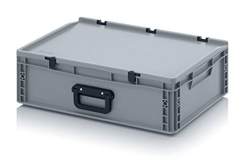 Eurobehälter 60 x 40 x 18,5 mit Scharnierdeckel und Griff (Tragegriff, Klappgriff) inkl. gratis Zollstock