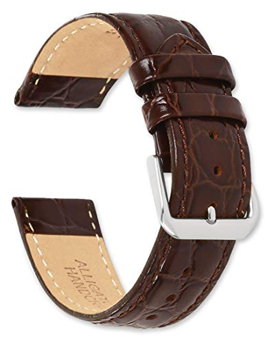 deBeer Alligator Grain Leather Watch Band - Brown - 16mm - Extra Long Length Replacement Watch Strap