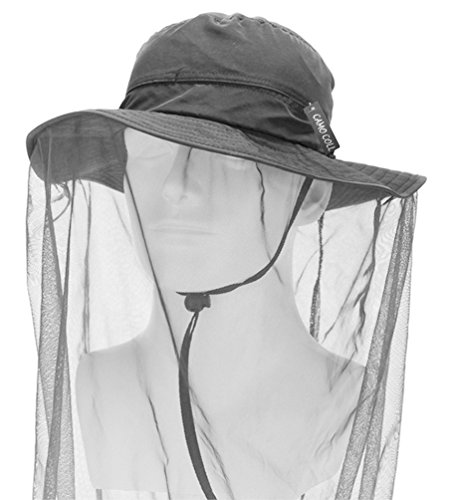 Camo Coll Outdoor Anti-mosquito Mask Hat with Head Net Mesh Face Protection (Dark Gray, One Size)