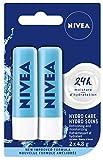 NIVEA Hydro Care Baume à lèvres (2 x 4,8 g), hydratant hydratant à l'aloe vera, avocat naturel et beurre de karité, hydratation 24H