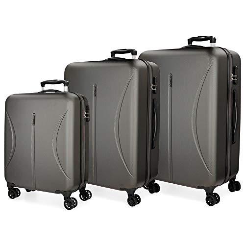 Roll Road Camboya Juego de maletas Gris 55/70/80 cms Rígida ABS Cierre combinación 219L 4 Ruedas...
