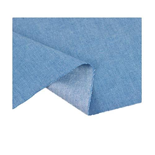 Denim stof jas zomer shirt gewassen doek katoen effen kleur kleding broek dun gedeelte waardoor rok 150 cm breed wordt (Color : Medium blue)
