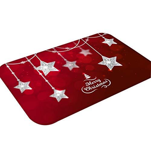JUNGEN Antideslizante Felpudo para Navidad, Diseño de Estrellas de Plata, Alfombra Mat Alfombrillas Decorativas...