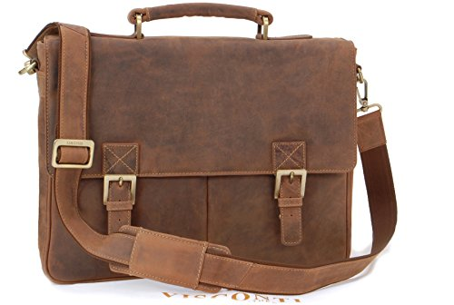 VISCONTI Briefcase Messenger Bag A4 Hunter Leather HardwearingShoulderCross BodyLaptop CompatibleNotebookiPadBusinessOfficeWork Bag 18716 Berlin Oil Tan