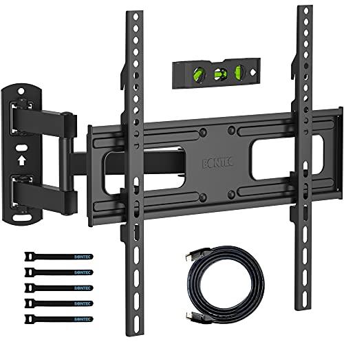 BONTEC TV Wandhalterung für 27-55 Zoll LED LCD Flach/Curved TVs bis zu 35 kg, Schwenkbar, Neigbar, Voll Bewegliche TV Halterung, max. VESA 400x400 mm