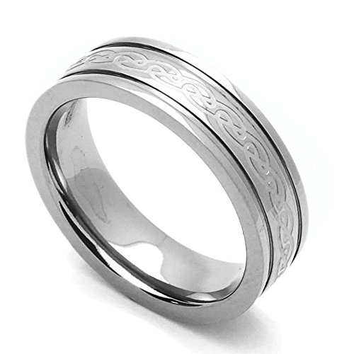 Double Accent 6MM Comfort Fit Titanium Wedding Band Celtic Knot Grooved Ring (Size 7 to 14) Size 12